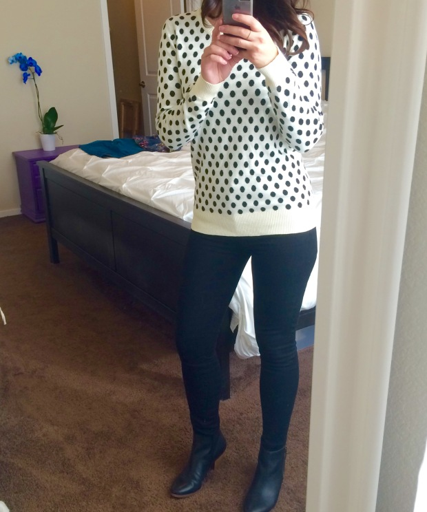 Black and cream polka dot sweater from Stitch Fix
