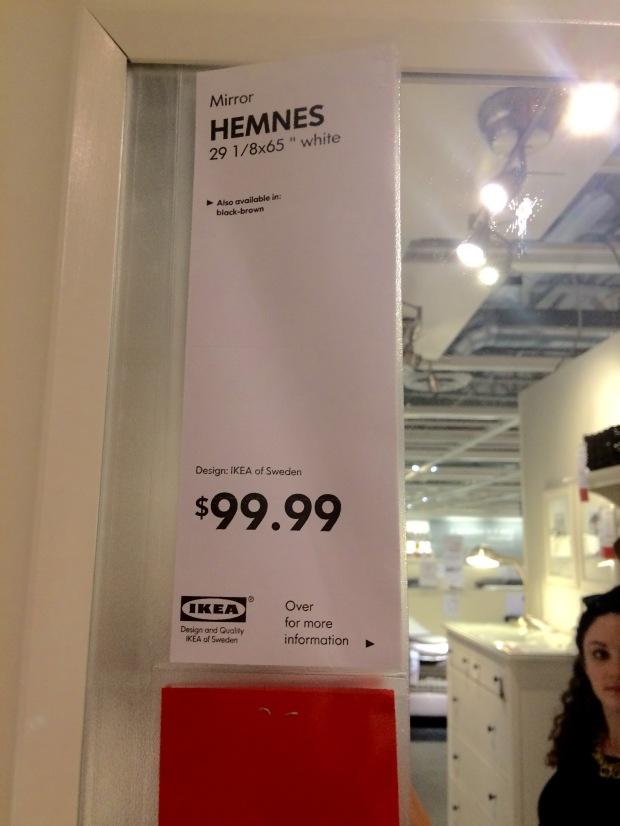 IKEA Hemnes white leaning mirror