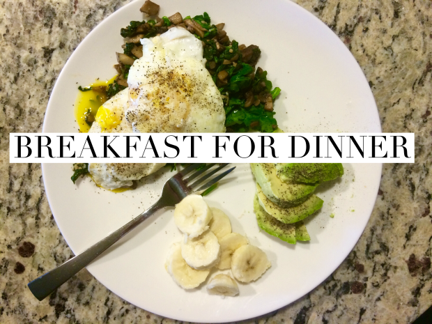 A delicious breakfast recipe: sautéed veggie medley, fried eggs, avocado, and banana