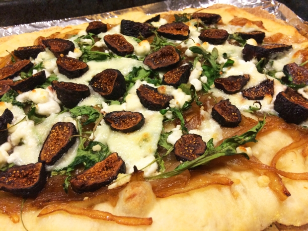 From THE RUNNER'S WORLD COOKBOOK: Caramelized Onion & Fig Pizza. Perfect pre-run fuel!