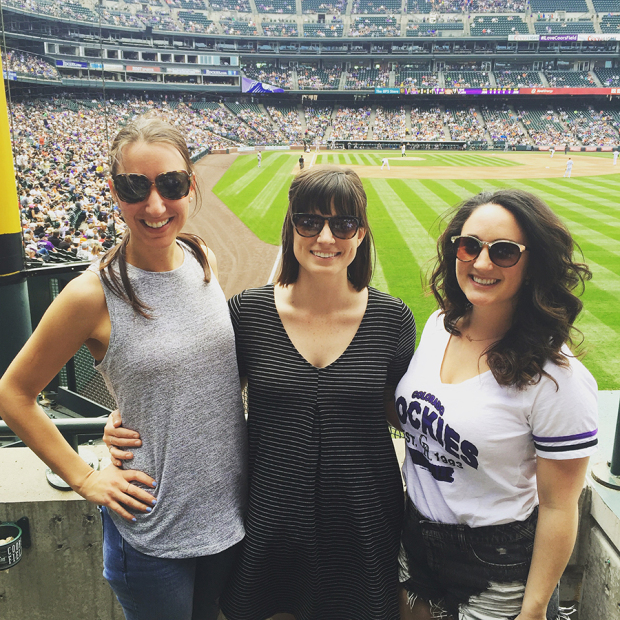 Enjoying the Colorado Rockies baseball game at Denver's Coors Field