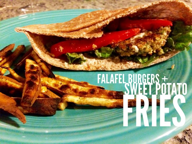 Grease-themed dinner recipe: Falafel Burgers with Baked Sweet Potato Fries