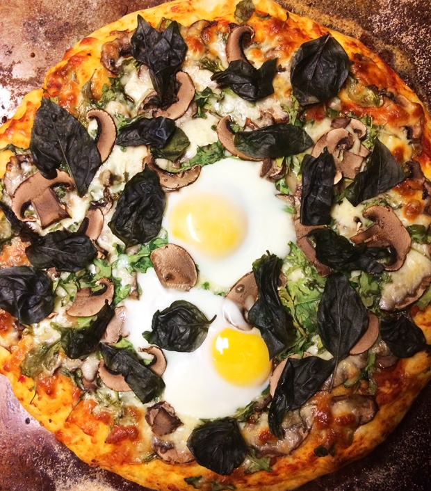 PIZZA | THE REAL LIFE Mushroom, arugula, garlic, basil, spinach, fried egg