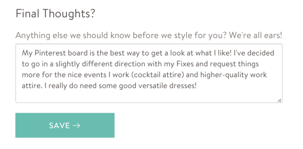 Planning my 4th Stitch Fix: changing up my Style Profile.