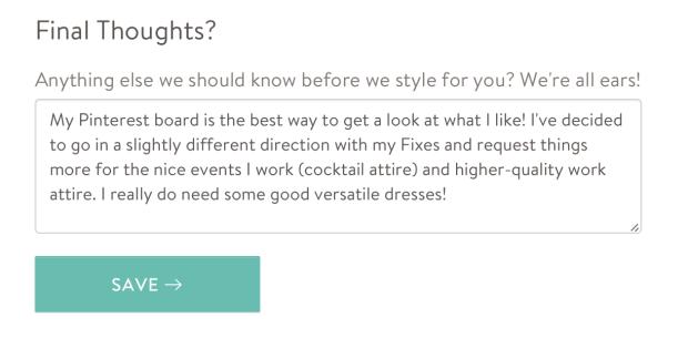 Planning my 4th Stitch Fix: changing up my Style Profile.