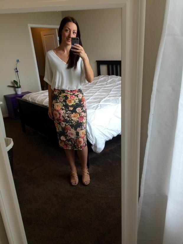 Stitch Fix Elle faux suede floral pencil skirt