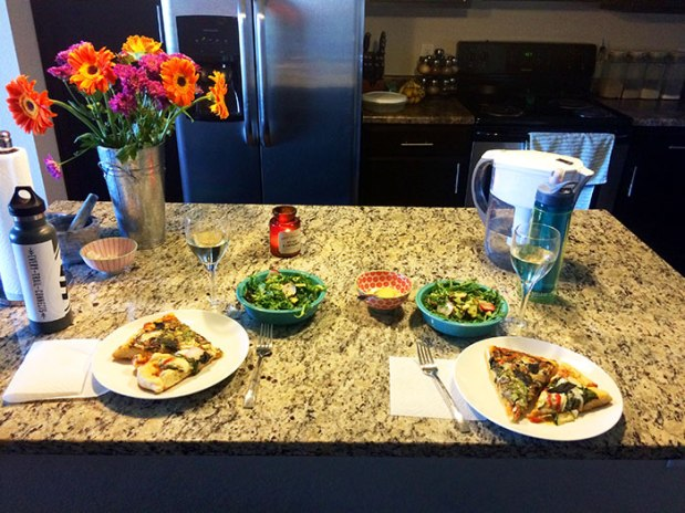 Sunday night pizza salad and wine post-run feast