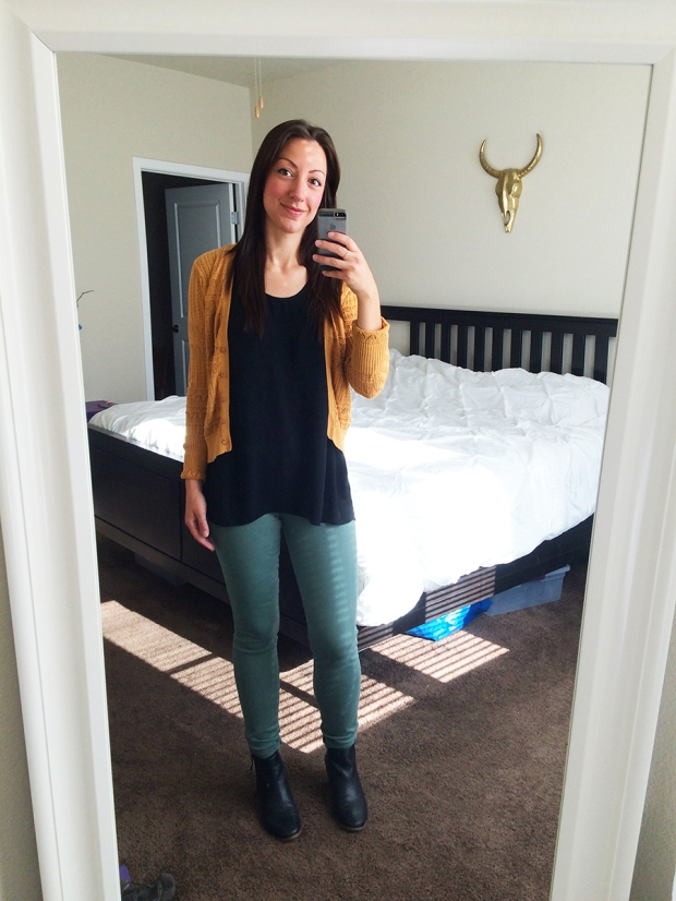 OUTFITS OF THE WEEK: Fancy & Frumpy | THE REAL LIFE. Tuesday casual, green pants from Gap, black tank from Target, mustard sweater from H&M, black booties from DSW