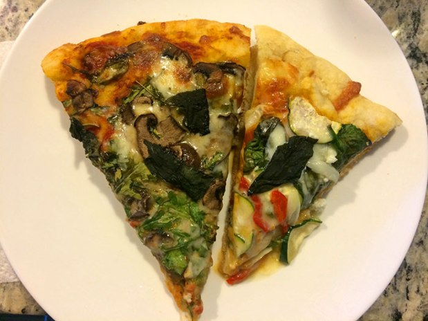 Two different homemade pizza recipes post-run