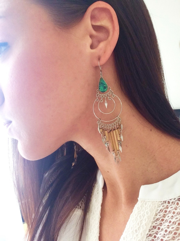Wednesday look, these Native American earrings from a market in Washington DC OUTFITS OF THE WEEK | THE REAL LIFE