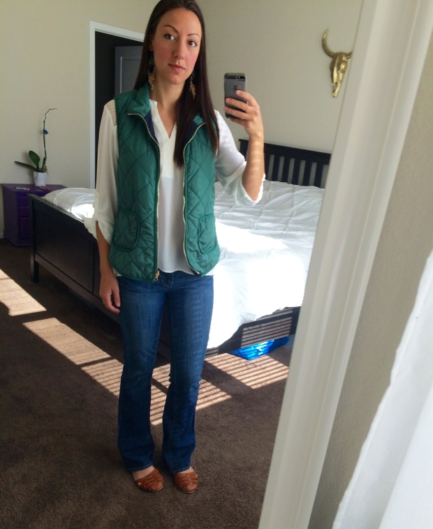 Wednesday's Stitch Fix blouse and vest, and an old pair of jeans! OUTFITS OF THE WEEK | THE REAL LIFE