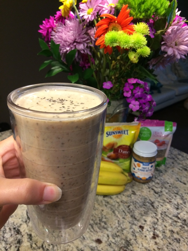 Banana, dates, almond milk, almond butter protein-packed smoothie! | THE REAL LIFE | food, recipes, meals, vegetarian, whole foods, cooking, healthy eating, fitness, eating