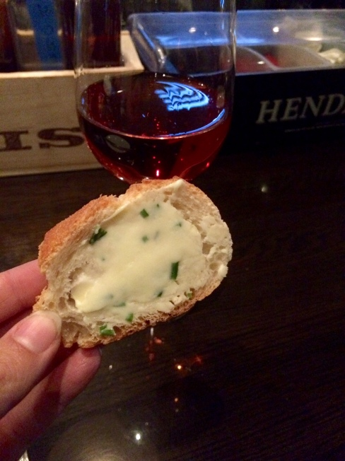 Bread, herb butter, and rose at The Local Restaurant, Jackson Hole, Wyoming