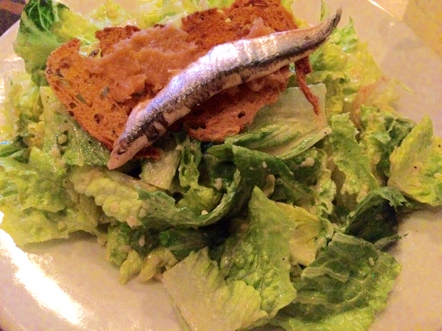 Caesar salad topped off with an anchovy from Trio Restaurant in Jackson Hole, Wyoming | THE REAL LIFE | food, recipes, meals, vegetarian, whole foods, cooking, healthy eating, fitness, eating