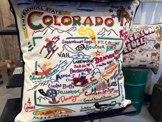 Colorado pillow at the Gray Crane Gallery in Jackson Hole, Wyoming
