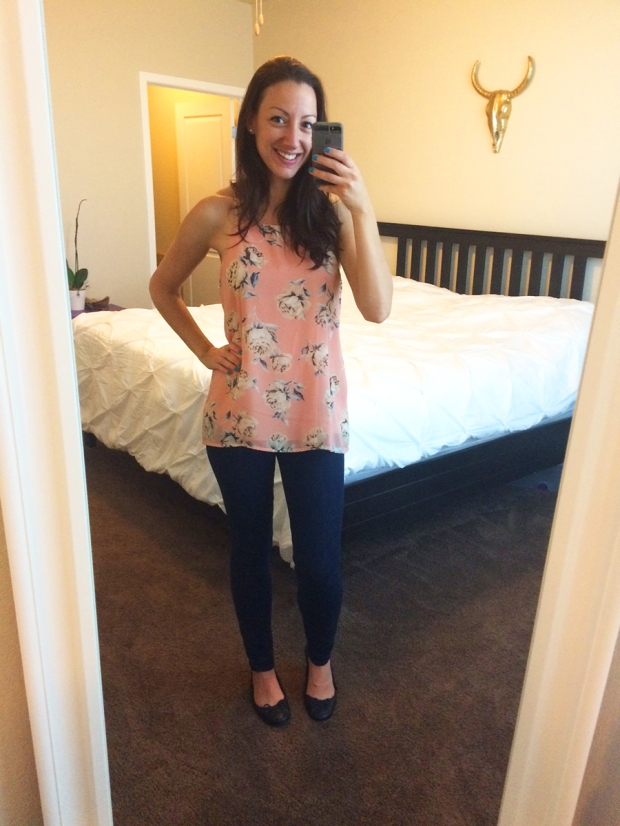 Francesca's sleeveless top, Gap jeans, Target flats | THE REAL LIFE | Outfits of the Week series, clothing, style, fashion, thrifty, dresses, casual office attire, running