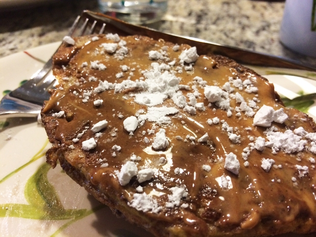 French toast with hazelnut and peanut butter topped with powdered sugar and maple syrup | THE REAL LIFE | food, recipes, meals, vegetarian, whole foods, cooking, healthy eating, fitness, eating