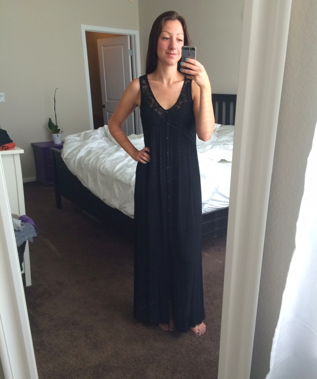 Forever 21 black maxi dress | THE REAL LIFE | Outfits of the Week series, clothing, style, fashion, thrifty, dresses, casual office attire, running