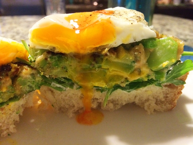 Broccoli and zucchini fritte on homemade bread that with a fried egg and Cholula | THE REAL LIFE | food, recipes, meals, vegetarian, whole foods, cooking, healthy eating, fitness, eating