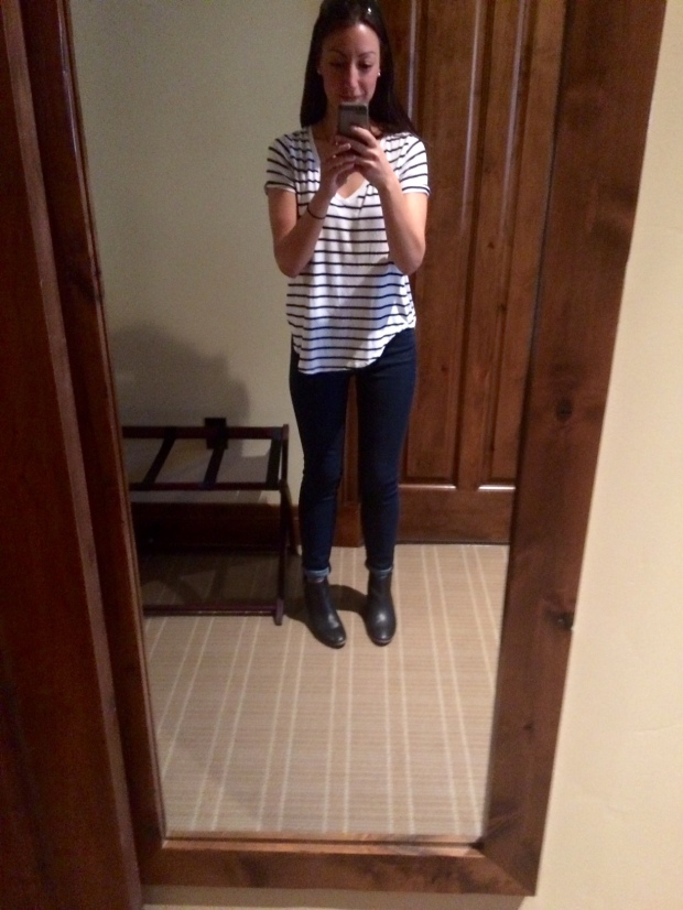 Full-length mirror in my White Buffalo Club hotel room in Jackson Hole, Wyoming