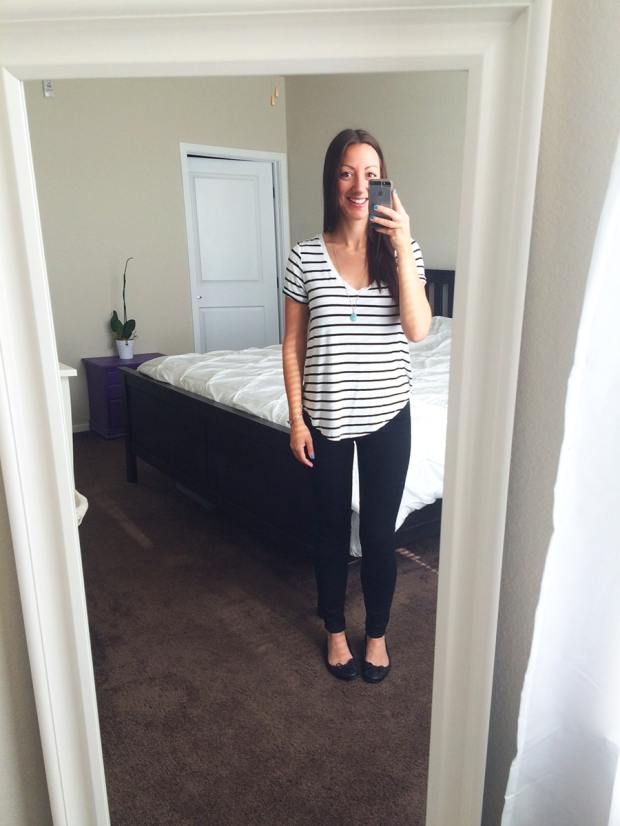 Striped T-shirt from American Eagle, black skinny jeans Gap, Target flats | THE REAL LIFE | Outfits of the Week series, clothing, style, fashion, thrifty, dresses, casual office attire, running