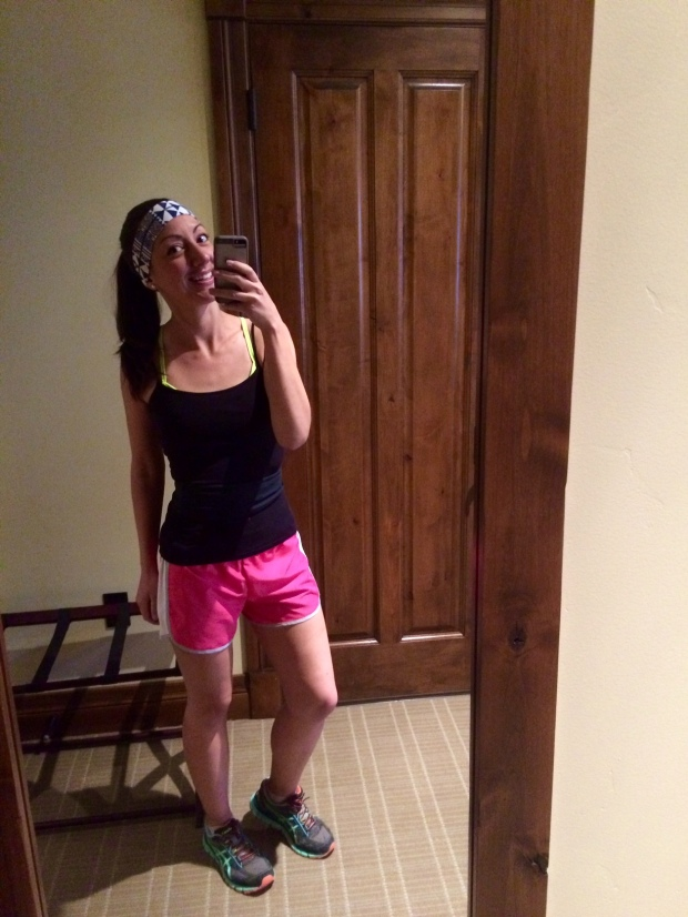 My running gear before Snake River 5 mile, Jackson Hole, Wyoming