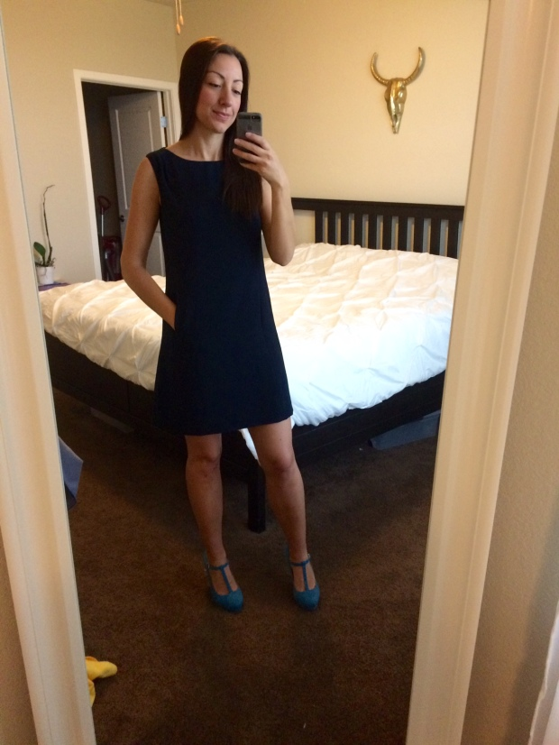 Merell Ponte Dress, $98, Stitch Fix | THE REAL LIFE fashion, clothing, style, outfits, summer attire, dress, navy, T strap heels