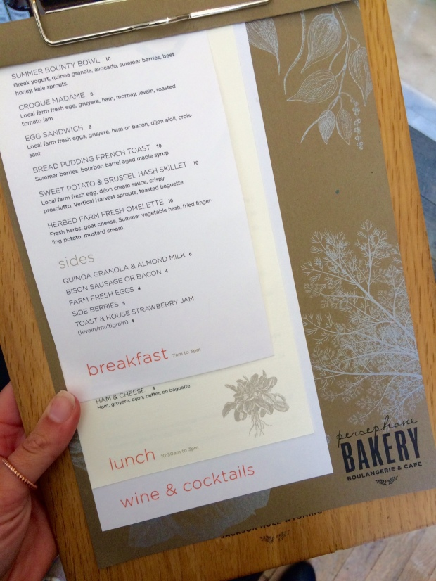 The menu at Persephone Bakery in Jackson Hole, Wyoming