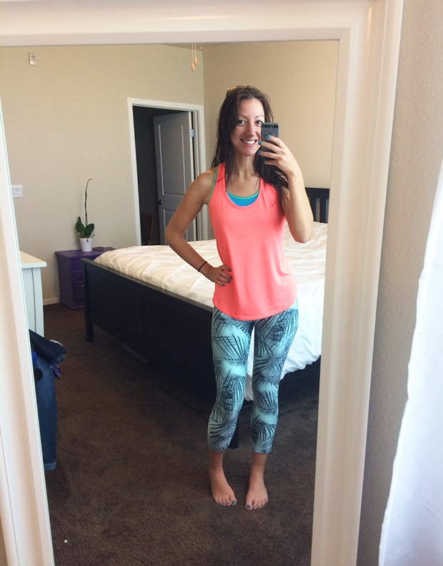 Old Navy dry-fit workout tank top, palm frond running tights from REI | THE REAL LIFE | Outfits of the Week series, clothing, style, fashion, thrifty, dresses, casual office attire, running