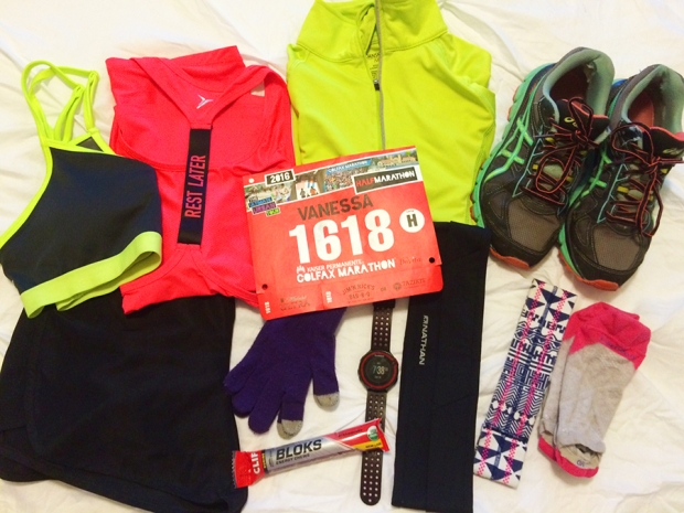 Preparing for my race the night before | 2016 Colfax Half Marathon