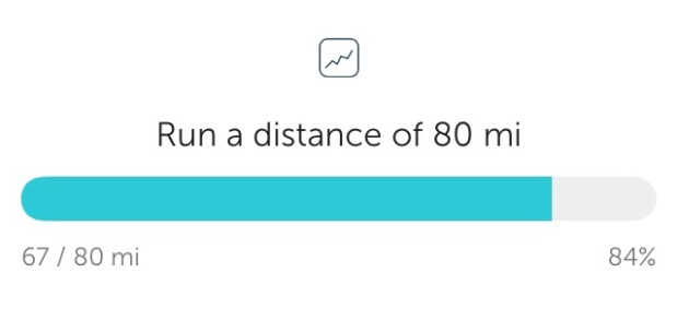 Monthly Mileage goal on RunKeeper fitness app | THE REAL LIFE| fitness, running, working out, healthy, weight maintenance, intuitive eating