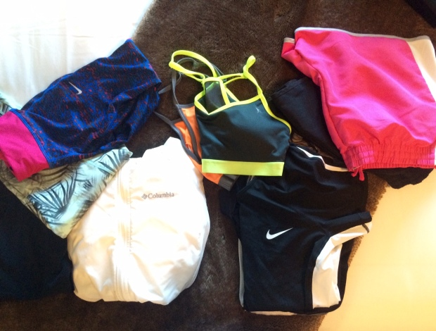 Many different workout clothes for changing we