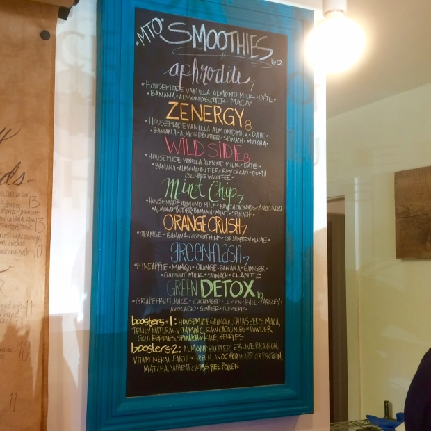 Smoothies menu, Healthy Being Juicery, Jackson Hole, Wyoming