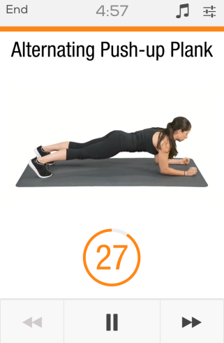 Sworkit Fitness app upper body 5 minute workout