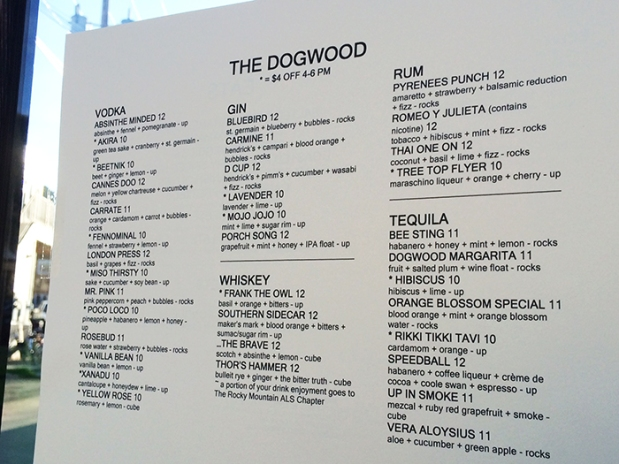 The Dogwood Cocktail Cabin drink menu in Crested Butte, Colorado | THE REAL LIFE | Colorado travel, trail running, fitness, vacation, food, foodie, restaurants, intuitive eating