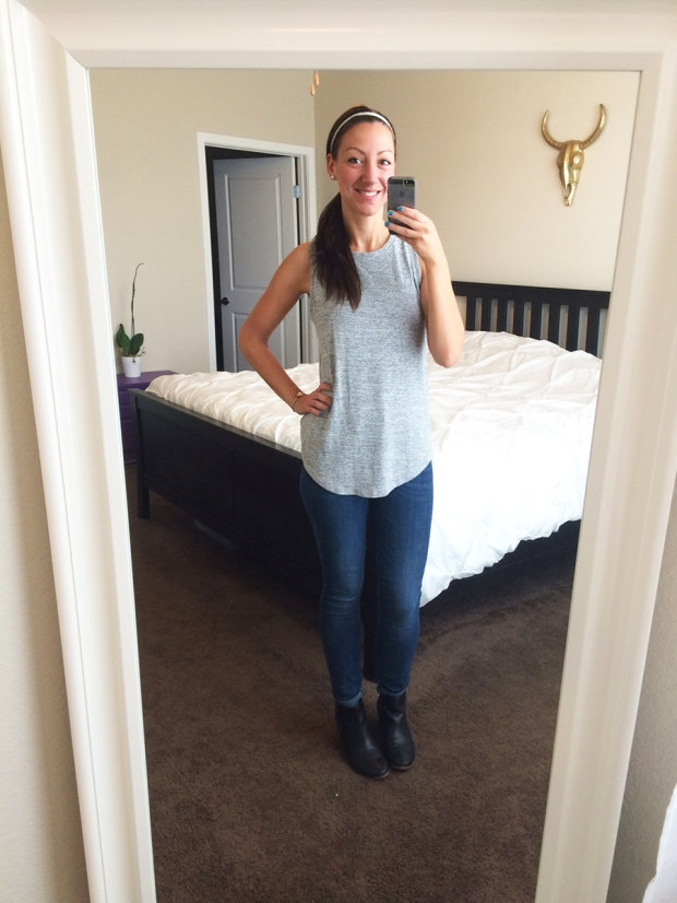 Gray tank from Gap, skinny jeans from Gap, DSW black booties | THE REAL LIFE | Outfits of the Week series, clothing, style, fashion, thrifty, dresses, casual office attire, running
