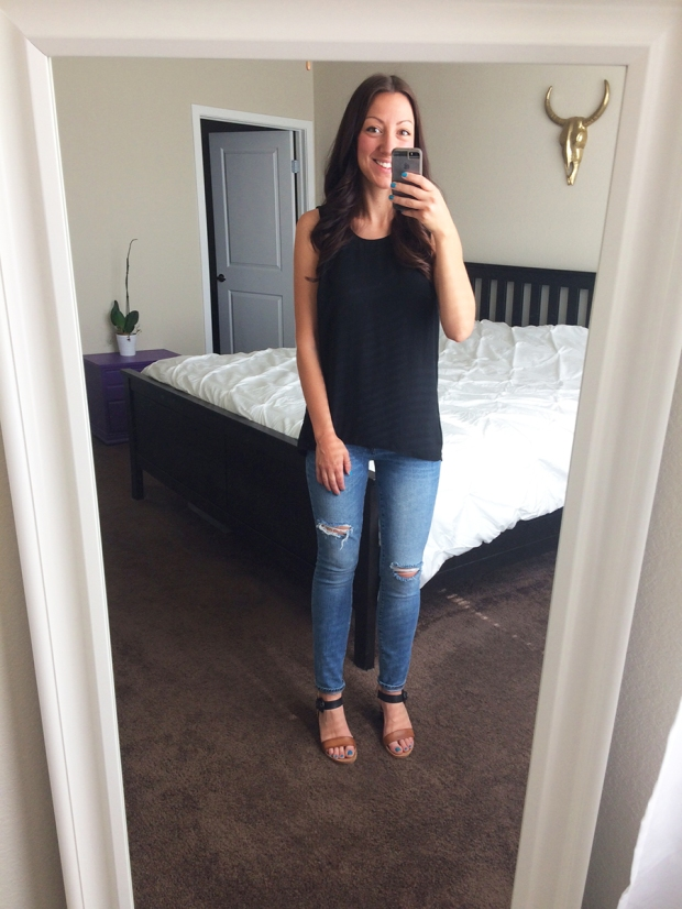 Ripped skinny jeans from Gap, flowy black top from Target, wedges | THE REAL LIFE | Outfits of the Week series, clothing, style, fashion, thrifty, dresses, casual office attire, running