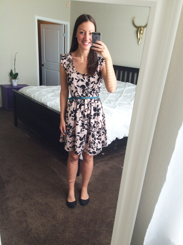 Dillard's dress with teal belt, Target flats | THE REAL LIFE | Outfits of the Week series, clothing, style, fashion, thrifty, dresses, casual office attire, running