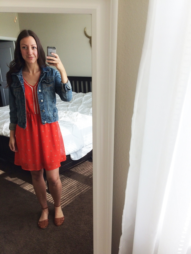 Wednesday sun dress with denim jacket
