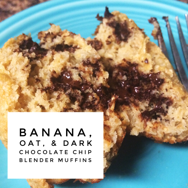 Clean Eating Banana Oat Dark Chocolate Chip Blender Muffins Healthy