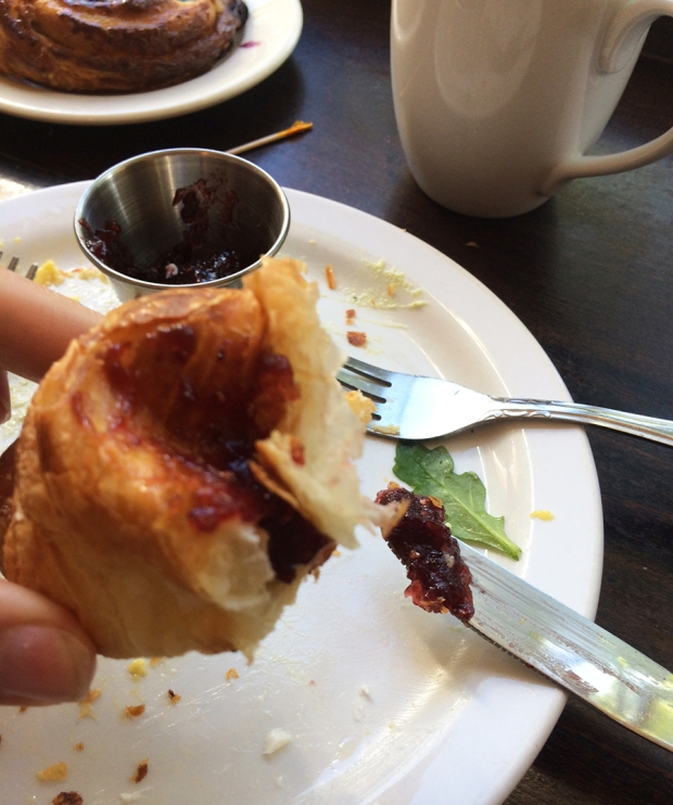 Croissant and jam at Wooden Spoon Cafe and Bakery in Denver Highlands