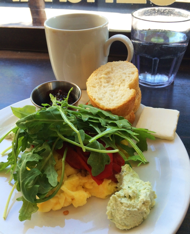 herb goat cheese, roasted red peppers, and fresh arugula at The Wooden Spoon Cafe and Bakery in Denver Highlands