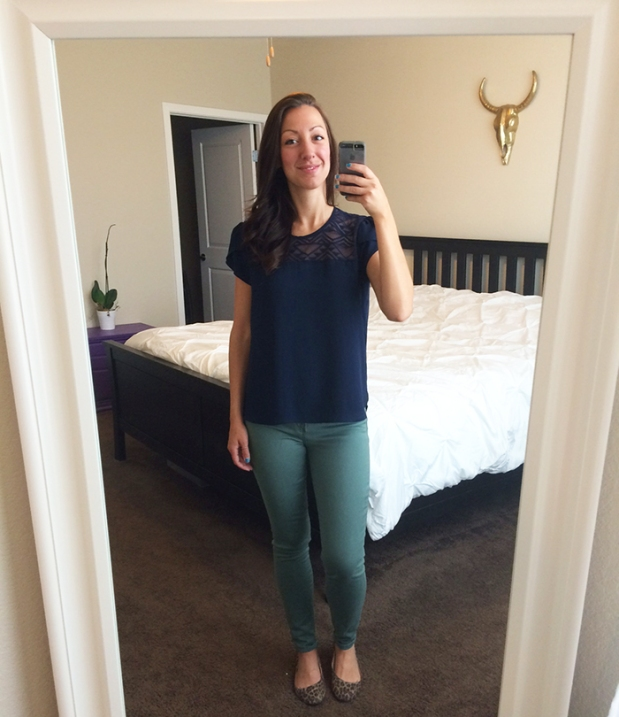 Green Gap skinny jeans, navy lace blouse from Ross, leopard print flats from Target | THE REAL LIFE, Outfits of the Week series | fashion, clothing, style, thrift shopping, Stitch Fix
