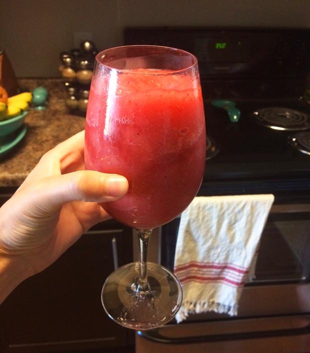 Pink moscato wine slushie