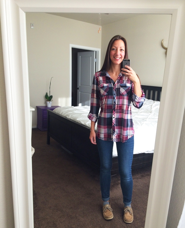 Ready for adventure! Flannel top from Ross, blue skinny jeans from Gap, Sperry boat shoes from DSW | THE REAL LIFE, Outfits of the Week series | fashion, clothing, style, thrift shopping, Stitch Fix