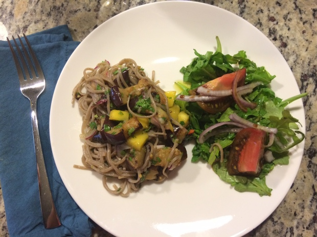 Soba noodles and salad