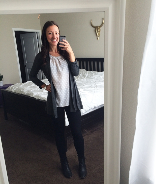 Tuesday morning back to work outfit! Black skinny jeans from Gap, polka dot top from Target, gray cardigan from Ross, black booties from DSW, | THE REAL LIFE, Outfits of the Week series | fashion, clothing, style, thrift shopping, Stitch Fix