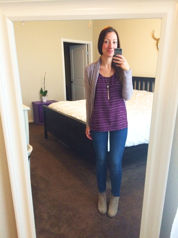 Work outfit, super casual! blue jeans from Gap, purple top from Ann Taylor Loft, sweater from Target, beige booties from Target, necklace from Francesca's | THE REAL LIFE, Outfits of the Week series | fashion, clothing, style, thrift shopping, Stitch Fix