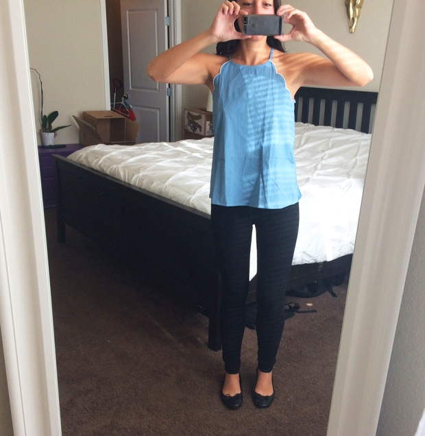 Romee Scallop Trim Chambray Top, Stitch Fix | THE REAL LIFE Blog | My Stitch Fix #5: Which should I keep?