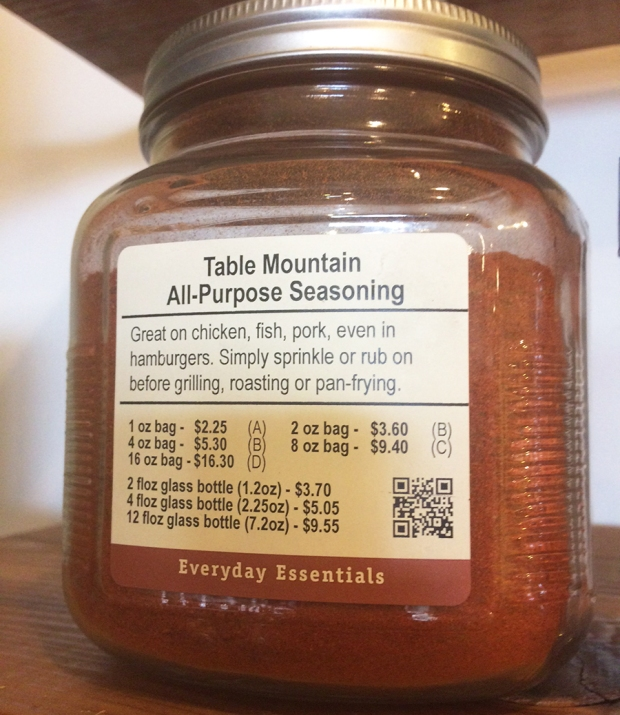 Table Mountain seasoning, Savory Spice Shop in Littleton Colorado